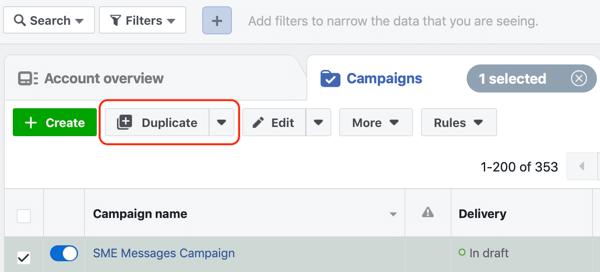 Hoe websitebezoekers te converteren met Facebook Messenger-advertenties, stap 1, dubbele campagne