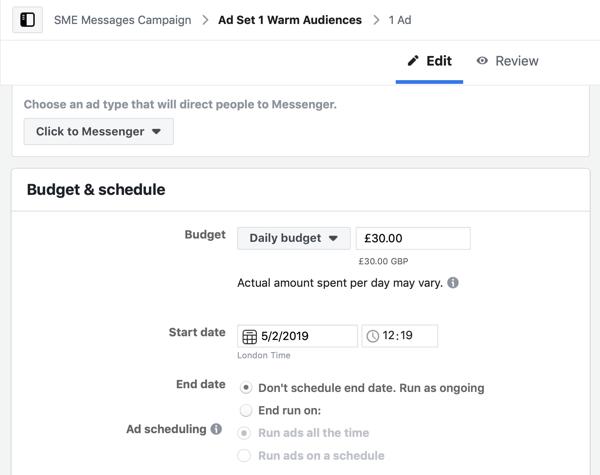 Hoe warme leads te targeten met Facebook Messenger-advertenties, stap 5, budget en schema-instellingen