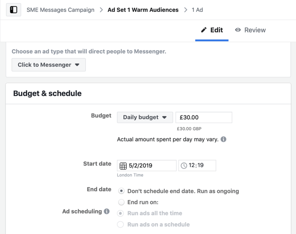 Hoe warme leads te targeten met Facebook Messenger-advertenties, stap 5, budget en schema-instellingen