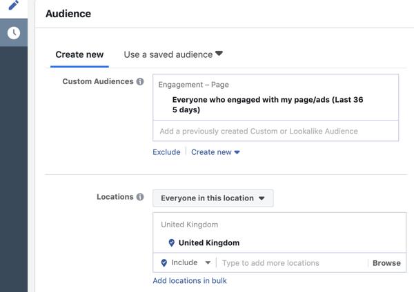 Hoe warme leads te richten op Facebook Messenger-advertenties, stap 6, doelgroep die zich bezighield met de pagina