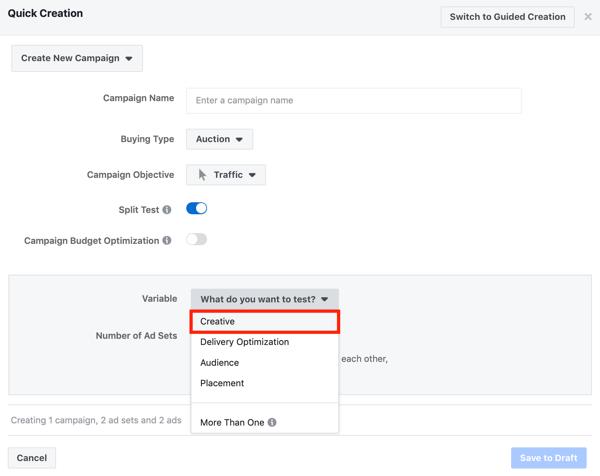 Facebook advertentietechnieken die resultaten opleveren, split-test creatieve instelling voor Facebook advertentiecampagne