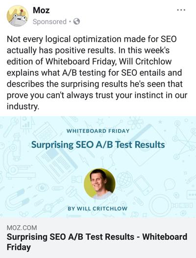 Advertentietechnieken op Facebook die resultaten opleveren, bijvoorbeeld door Mozas met onderzoeksmateriaal van het merk