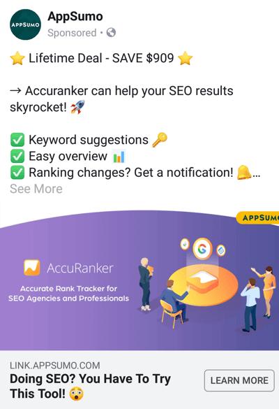 Facebook advertentietechnieken die resultaten opleveren, bijvoorbeeld doordat AppSumo een deal aanbiedt