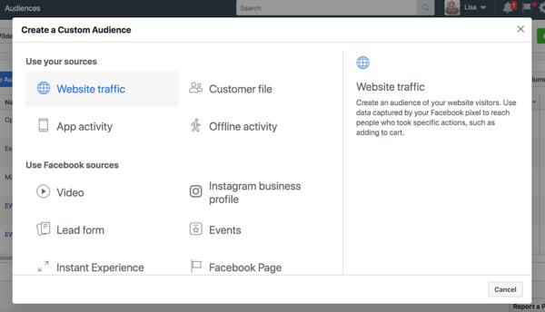 Utilizza il pubblico personalizzato del sito Web per indirizzare gli utenti in base alle azioni che intraprendono sul tuo sito Web.