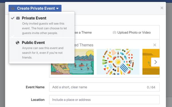 Gli eventi di Facebook offrono alla tua attività un modo per includere fan, follower e clienti in un webinar, un lancio di un prodotto, un'inaugurazione o altre celebrazioni.