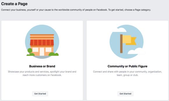 الخطوة 1 لإنشاء صفحة عملك على Facebook.