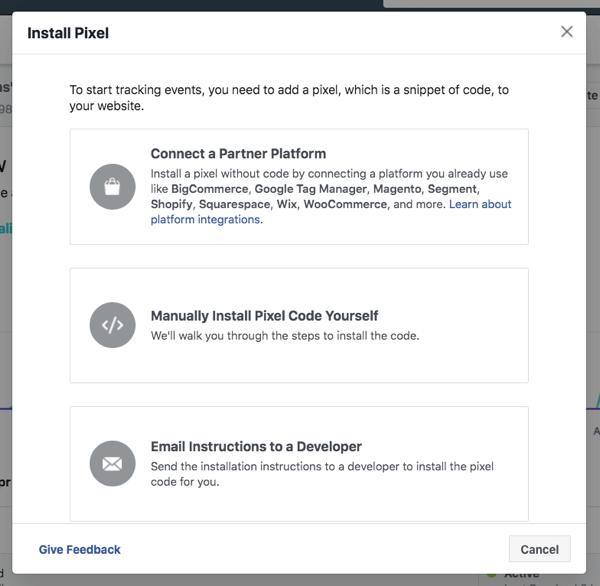 Installa il pixel di Facebook per monitorare l'attività del pubblico e i risultati degli annunci sui tuoi canali di marketing.