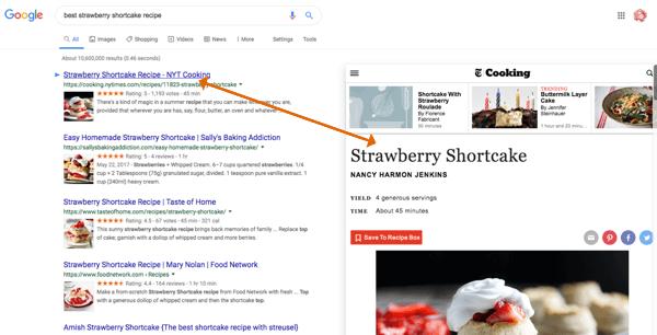 Gebruik Google Results Previewer om inhoud te bekijken voordat u doorklikt.