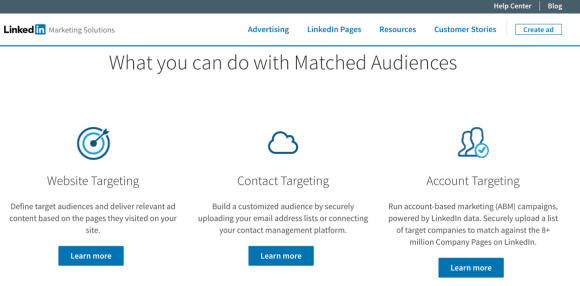 أنشئ جمهور LinkedIn المطابق لاستخدام إعادة استهداف مواقع الويب واستهداف الحساب واستهداف جهات الاتصال مع إعلانات LinkedIn الخاصة بك.