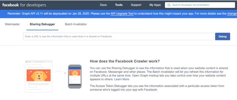 step 1 of how to use the Facebook Sharing Debugger tool