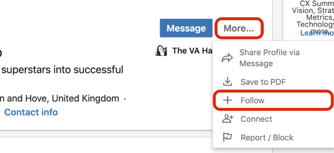 More drop-down menu with Follow option selected on LinkedIn profile