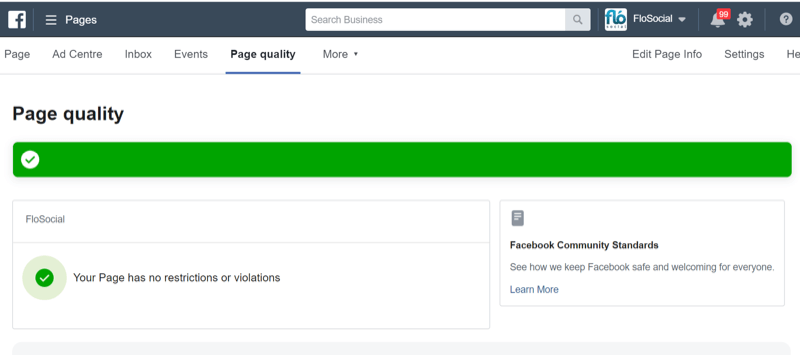 step 2 of how to check Facebook page quality