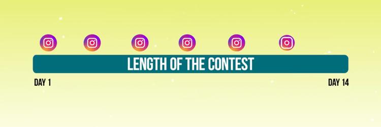 Grafik mit der Zeitleiste der Werbepostings für den Instagram-Wettbewerb