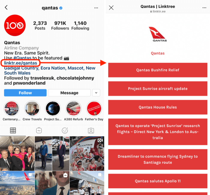 Pagina LinkTree per l'account Instagram di Quantas