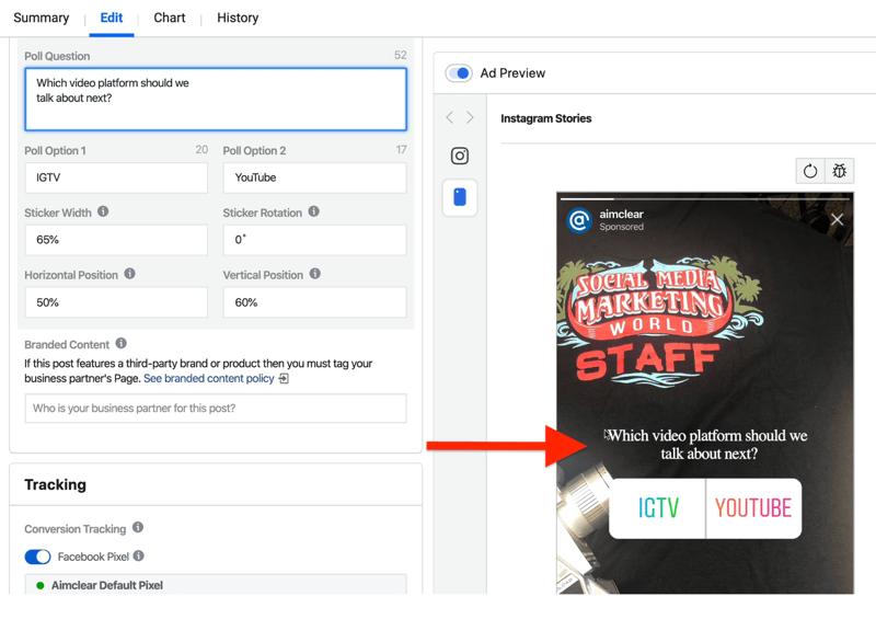Felder zum Einrichten der Anzeigenumfrage für Instagram Stories im Anzeigenmanager