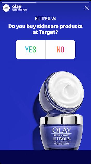 Beispiel für eine Instagram Stories-Anzeige mit Umfrage