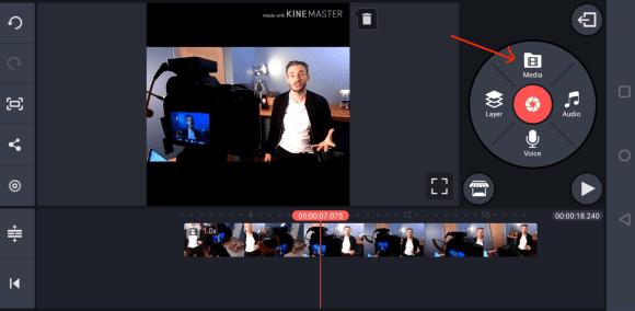 استيراد الفيديو إلى التطبيق المحمول KineMaster