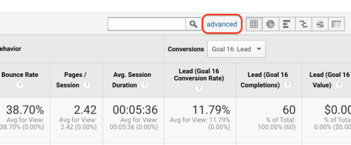 example google analytics screenshot of source / medium utm data sources with the advanced filter highlighted