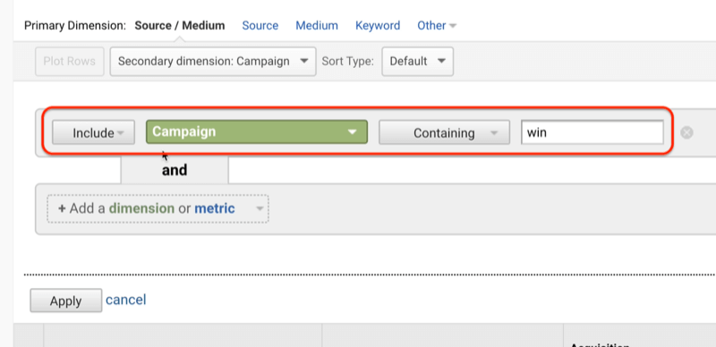 example google analytics screenshot showing the addition of include campaign win under secondary dimension