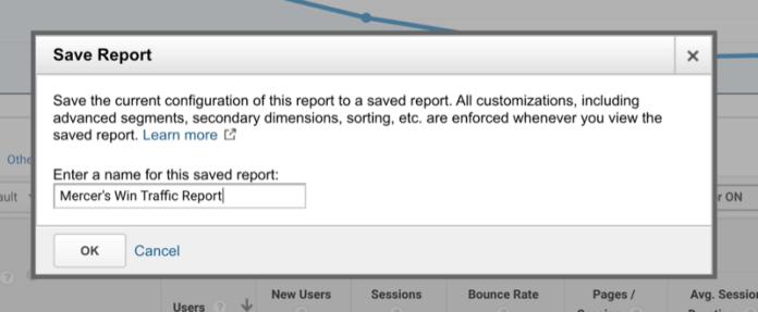 google analytics option to name a saved custom report