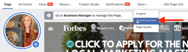 example facebook business page in facebook business manager with publishing tools menu option highlighted