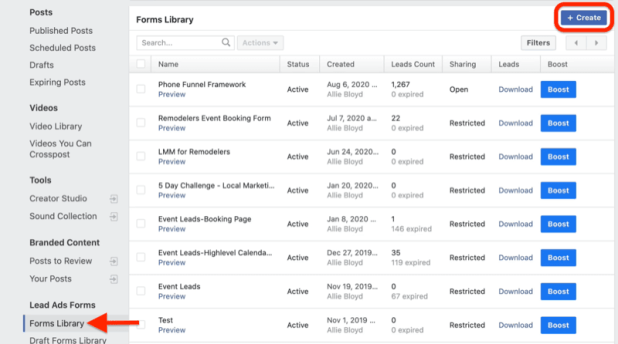 facebook business manager publishing tools menu with forms library highlighted under lead ads forms with the create button highlighted