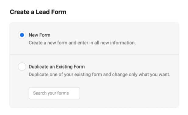 facebook lead ads create new lead form with the new form option selected