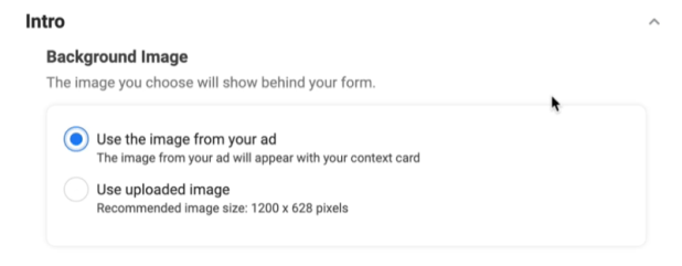 facebook lead ads create new lead form option to use a background image with the use the image from your ad option selected
