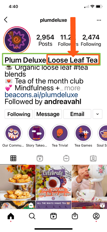 example instagram profile for @splumdeluxe showing key words of 'plum deluxe' and 'loose leaf tea' in the bio of their page, allowing them to show up well in search results