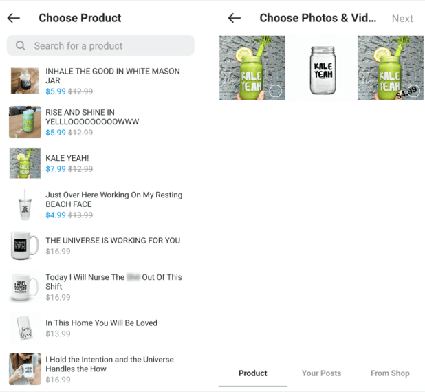 example create instagram products guide for mugs and water bottles with sayings such as kale yeah, and rise and shine, etc. at the option to select a product and photo & videos with several example products offered for selection