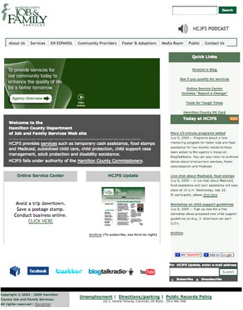 The Hamilton County Job and Family Services website features links to the department's various social media connection points.