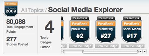 Social Media Explorer's 2009 Blog Honors from Postrank