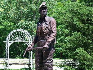 Coal Miners Statue located in Benham, Kentucky.
