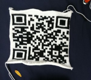 Knitted QR Code from Maker Faire