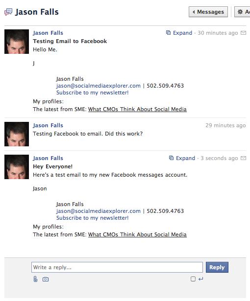 A facebook message thread