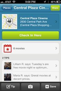 foursquare movie theater checkin