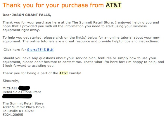 AT&T email to Jason Falls