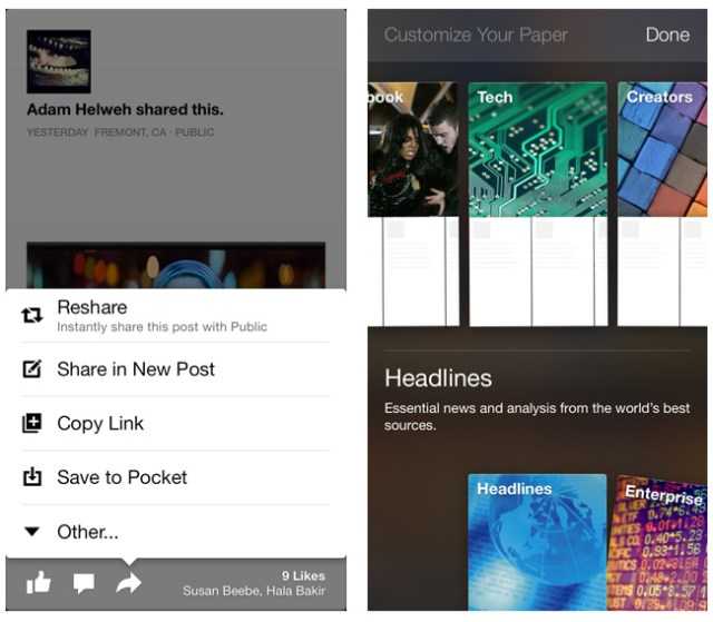 Facebook Paper Content Sections and Save for Later