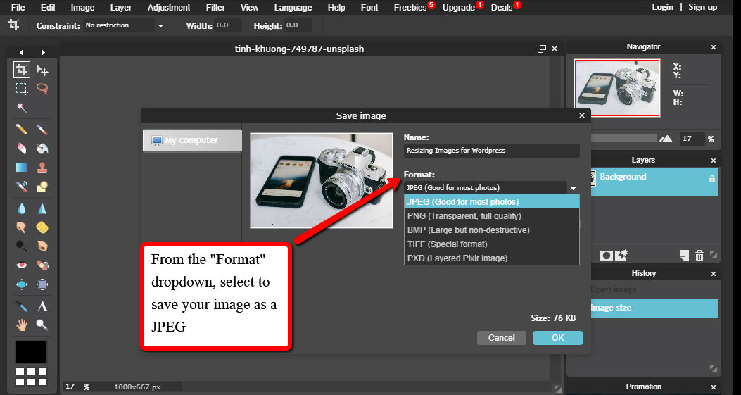 Resizing Images for WordPress Format