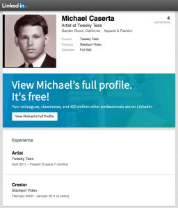 michael-caserta-stackpot-linkedin-profile-tweeky-tees-screenshot