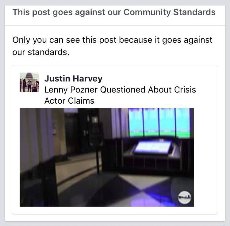Justin Harvey - Facebook Community Guidelines Strike - Harassing Victims in the News