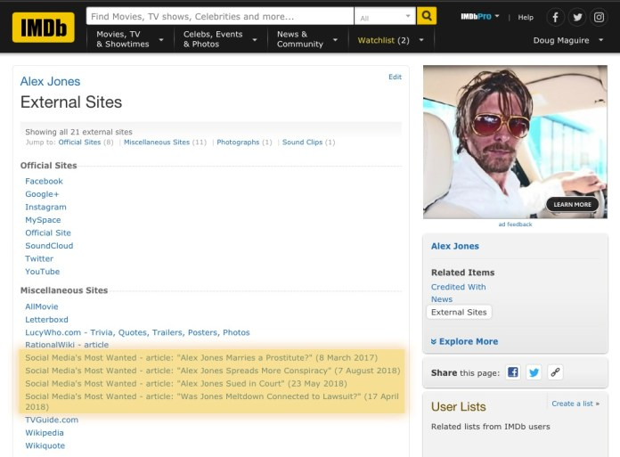 Alex Jones on IMDb!