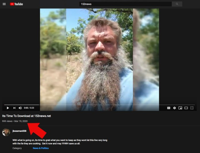 YouTube screencapture - Jason Boss of 153News.net
