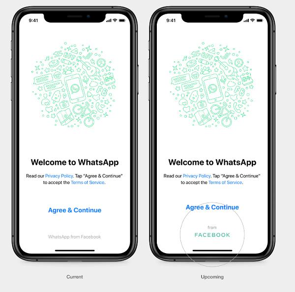 Facebook branding in WhatsApp