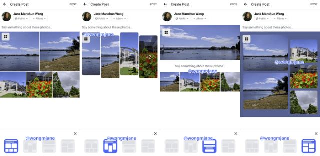 Facebook image presentation options