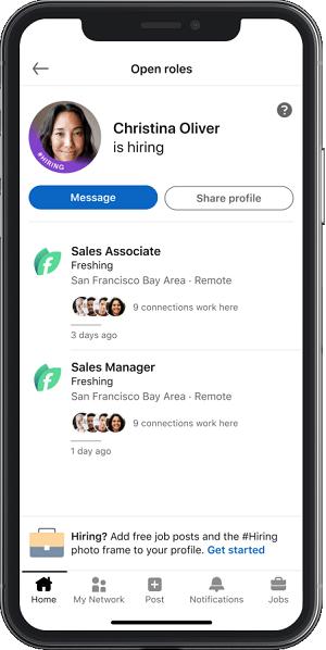 LinkedIn hiring frame