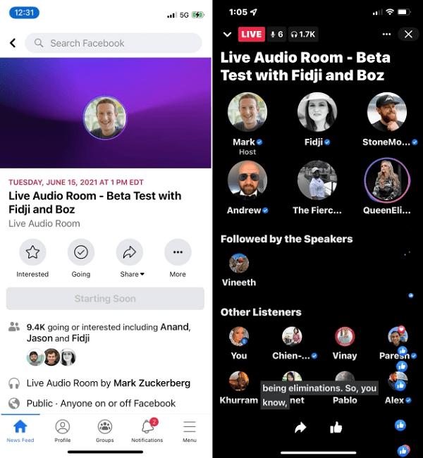 Facebook audio room