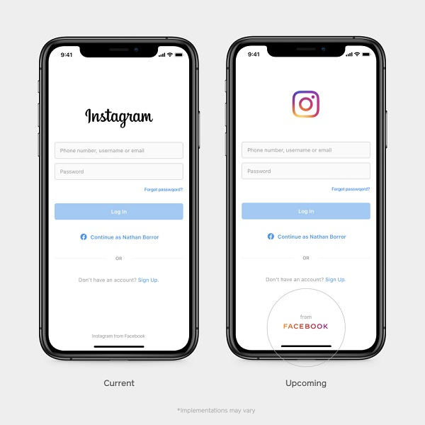Facebook branding in Instagram