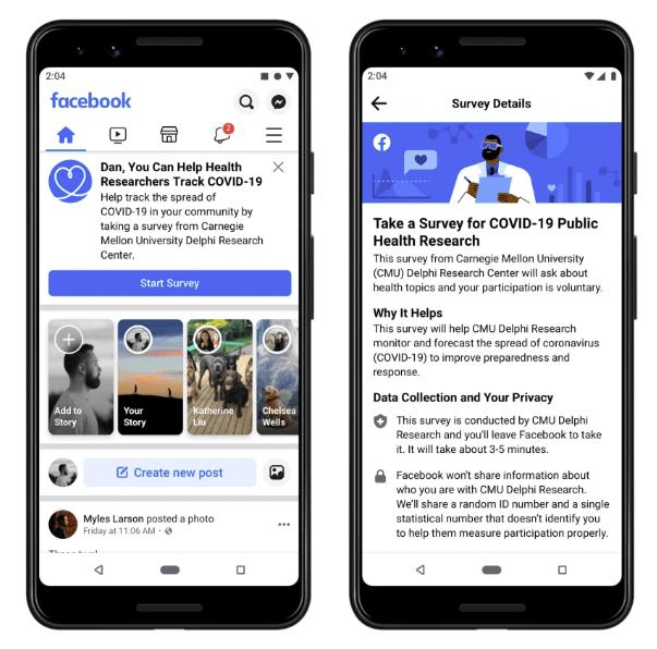 Facebook user survey COVID-19