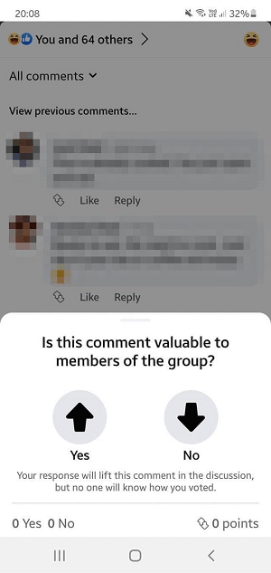 Facebook upvotes test